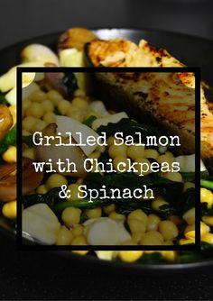 A vida de Nessy: Salmão grelhado com salada de grão e espinafres