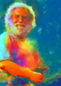 Abstract Psychedelic Jerry Garcia Art Melted By ArtByAbigailShop