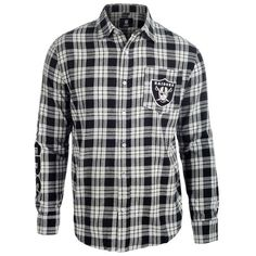 Men's Oakland Raiders NFL Klew Black/Silver Wordmark Flannel Button-Up Long Sleeve T-Shirt