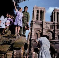 Liberation of Paris. Notre Dame in background. August 1944