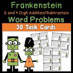 Frankenstein Word Problem Task Cards using 3 and 4 Digit Addition and Subtraction includes 30 Task Cards. These task cards will have your students practicing word problems this Halloween season. All task cards have a fun Frankenstein theme. This pack includes:30 Word Problem Task Cards - Task Cards ...