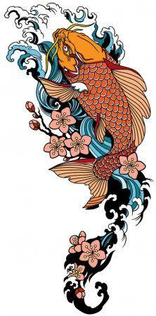 Koi Swimming Upstream : swimming, upstream, Swimming, Upstream, Sakura, Blooming., Japanese, Water, Waves, Cherry, Tattoo,, Tattoo, Design,