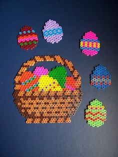 Easter ornaments hama perler beads [L] Melty Bead Patterns, Hama Beads Patterns, Beading Patterns, Perler Beads, Minnie Baby, Hama Beads Design, Fusion Beads, Iron Beads, Melting Beads