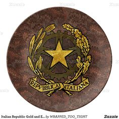 Italian Republic Gold and Earth Tones Porcelain Plate