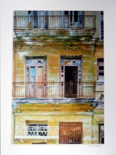 Havana Building Print-  A4 Quality Mounted Giclee Print of an old building in Havana, Cuba by Artist Suzie Nichols (colonial architecture) - pinned by pin4etsy.com
