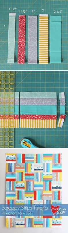 Scrappy Strips Free Tutorial in 6 sizes