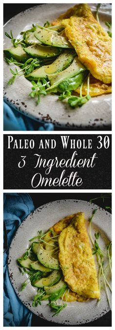 If you're looking for a paleo and whole 30 breakfast that's quick and simple to make, check out this filling and satisfying omelette. All you need are eggs, sprouts or greens and avocado. It's fast and delicious. #paleo, #whole30, #eggs, #avocado, #glutenfree, #dairyfree