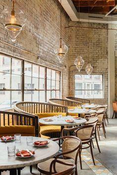 Restaurant Design Inspirations From Studio Unltd – Restaurant Interior Design Decoration Restaurant, Deco Restaurant, Restaurant Lighting, Restaurant Chairs, Restaurant Ideas, Brick Restaurant, Yellow Restaurant, Colorful Restaurant, Cafe Lighting