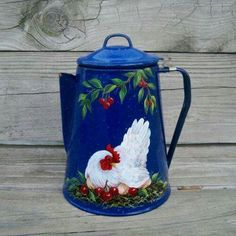 . Painted Milk Cans, Painted Jars, Hand Painted, Rooster Kitchen Decor, Rooster Decor, Rooster Art, Red Rooster, Vintage Enamelware, Chicken Art