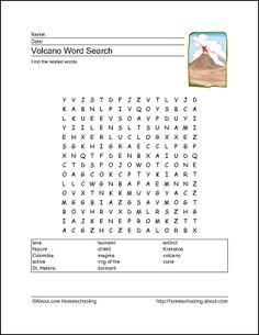 volcano word search and other printables