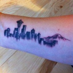 30 Seattle Skyline Tattoo Designs For Men - City Ink Ideas Seattle Tattoo, Seattle Skyline Tattoo, Hand Tattoos, Music Tattoos, Small Tattoos, Sleeve Tattoos, Tatoos, Inner Forearm Tattoo, Bicep Tattoo
