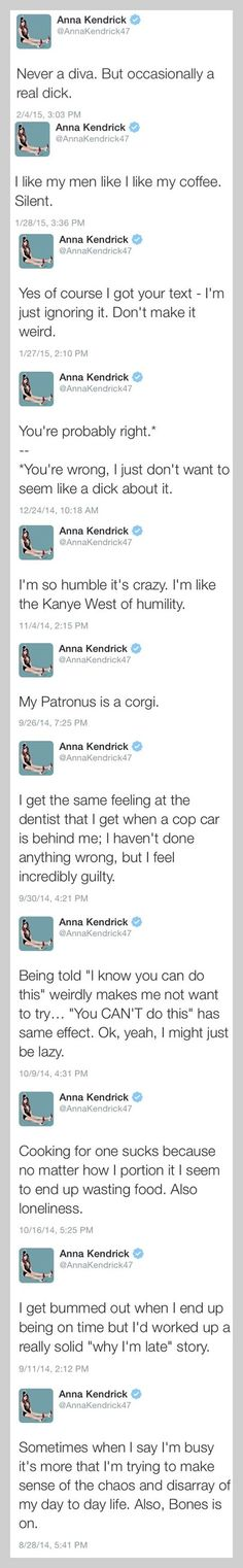My love for Anna Kendrick is deep! We are sarcasm soul mates!