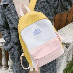 JOYPESSIE Fashion Korean Simple Cotton Backpack for Teenagers Travel Bagpack Male/Female School Backpack Stachels Rucksack Cute Backpacks For School, Trendy Backpacks, Backpacks For Sale, Cute Backpacks For Women, Leather Backpacks, Leather Bags, Aesthetic Backpack, Aesthetic Bags, Bags For Teens
