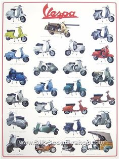 "Poster ""Vespa Model II"" 27 models Bring the Scooter feeling to your home with our stylish Posters. Vespa Ape, Piaggio Vespa, Vespa Lambretta, Vespa Scooters, Vintage Motorcycles, Cars And Motorcycles, Vespa Excel, Vespa Models, Vespa Smallframe"