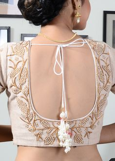 Off White Jute Embroidered Designer Blouse - BL10037 | Indian Silk House Agencies
