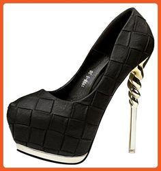 T&Grade Women Fashion Low Cut Slip On Platform Pumps Thin High Heel Party Stilettos Pumps(8 B(M) US, Black) - Pumps for women (*Amazon Partner-Link)