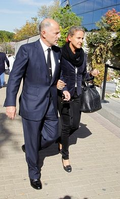 Prince Kubrat of Bulgaria and Carla Royo Villanova attend the funeral chapel for Prince Kardam of Bulgaria on 07.04.2015 in Madrid, Spain
