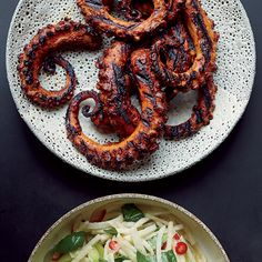 Grilled Octopus w/ Ancho Chile Sauce / You don't have to sacrifice flavor when it comes to preparing seafood in a healthy way. Whether it's grilling, steaming or roasting, everything from s. Fish Recipes, Seafood Recipes, Cooking Recipes, Cooking Kale, Grilled Seafood, Fish And Seafood, Fish Dishes, Seafood Dishes, Seafood Stew