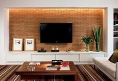 Living Room Tv Wall Decor Apartments Interiors Ideas For 2019 Living Room Tv, Home And Living, Tv Wall Design, House Design, Exposed Brick Walls, Living Room Designs, Home Decor, Home Theater, Theatre