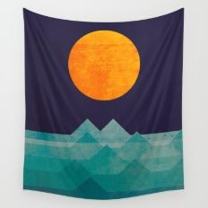 Wall Tapestry featuring The Ocean, The Sea, The Wave - Night Sce… by Picomodi