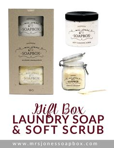 Laundry Soap + Soft Cleaning Scrub Gift Box by Mrs. Jones' Soapbox | Shop here: http://mrsjonessoapbox.com/collections/gift-sets/products/laundry-soap-soft-scrub-gift-box #ecofriendly #cleaning #laundry #house