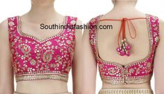 Gota patti work is very famous in Rajasthan.South India Fashion ~ Blouse Designs 2019 - Page my pink saree Choli Blouse Design, Blouse Designs High Neck, Best Blouse Designs, Silk Saree Blouse Designs, Bridal Blouse Designs, Stylish Blouse Design, Designer Blouse Patterns, Work Blouse, Yellow Saree