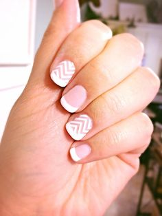 Gelish French Manicure with Jamberry White Chevron accent nails by Melissa Rochefort/myrochefort.