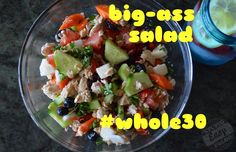 One of the easiest dinners to make when it's really hot out is a big-ass salad (BAS). In this bowl was chopped sweet onion, tomato, cucumber, jicama, carrot, red pepper, parsley, olives and blueberries. Then I added a whole can of wild caught salmon. I squeezed the juice of a lemon and lime on top and drizzled it with olive oil. #whole30