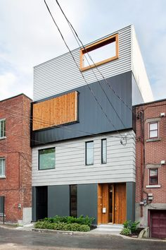 Architecture, Details Front Layers And Colours Defining The Stacked House In Montreal Canada Architecture Compact House: Layers and Colours Defining The Stacked House in Montreal, Canada Architecture Résidentielle, Amazing Architecture, Contemporary Architecture, Contemporary Style, Design Exterior, Wall Exterior, House Plans, Modern Design, House Design