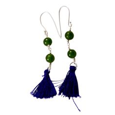 Silvesto india green quartz gemstone 925 sterling silver bead tassel earring pg-18071   https://www.amazon.de/dp/B01E8O2M72