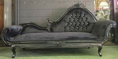 Hollywood regency black chase lounge sofa queens loveseat king throne