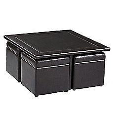 image of Southern Enterprises Broderick 5-Piece Storage Cube Table and Ottoman Set in Dark Chocolate