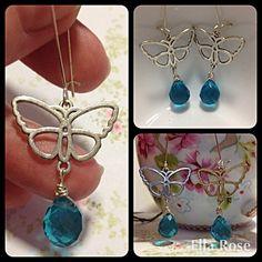 Sale! Long Blue Butterfly Earrings £6.00