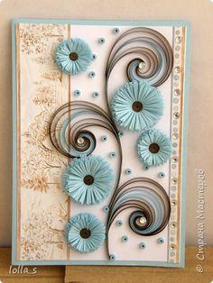 Здравствуйте!!! Представляю Вашему вниманию открыточку в шоколадно-голубой цветовой гамме (можно сказать в стиле Тиффани). Размер открытки 14,8 х 10,5. фото 1