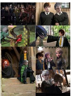 Image about hogwarts in Disney/Dreamworks by ~Laura~ Disney Hogwarts, Harry Potter Disney, Harry Potter Fan Art, Disney Au, Cute Disney, Disney And Dreamworks, Disney Crossovers, Disney Memes, Disney Princess Art