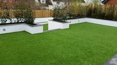 A fake lawn on different levels will enhance the appearance of your garden making it seem more spacious as well as adding the a natural flow. Garden Inspiration, Garden Ideas, Fake Lawn, Back Garden Design, Landscape Services, Outdoor Living, Outdoor Decor, Back Gardens, Playground