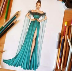 Discover recipes, home ideas, style inspiration and other ideas to try. Dress Design Drawing, Dress Design Sketches, Fashion Design Sketchbook, Fashion Design Drawings, Fashion Figure Drawing, Fashion Drawing Dresses, Dress Illustration, Fashion Illustration Dresses, Fashion Model Sketch