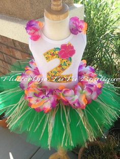 Happy Birthday Hula Girl Luau TuTu Set by flutterbyetutu on Etsy, $53.50