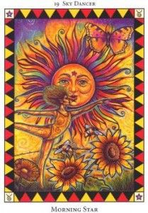 LIBRA - July 2012 - This month presents a beautiful summer time energy for you to enjoy, Libra!  Are you planning any trips to the beach or doing something fun – such as a vacation?  The Sky Dancer is all in favor of doing exactly that!  A lot of feel-good energy is surrounding you to warm you with happiness and a sense of magical freedom. (Waking the Wild Spirit Tarot)