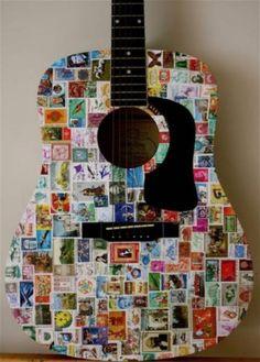 stempels maken - je oude gitaar pimpel en aan de muur hangen