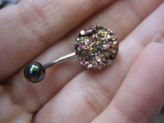 Rainbow Druzy Belly Button Jewelry Ring piercing by Azeetadesigns