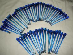 """large lot set of 50 hand blown Blue teardrop glass parts for chandelier up to 5"""""""