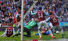 ~ Aston Villa scrambling against Wigan Athletic on the final day of the Barclays Premier League Season ~ Wigan Athletic, Barclays Premier, Barclay Premier League, Aston Villa, Soccer, Seasons, Day, Futbol, Seasons Of The Year
