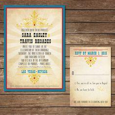 Printable Las Vegas Wedding Invitation with RSVP by BeyondDigital