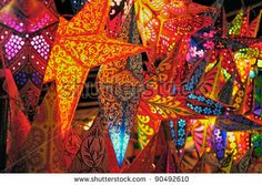 paper lantern indian star | Bright Stars. Folding Paper Lanterns From India Stock Photo 90492610 ...