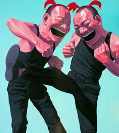 Yue Minjun Chinese art Yue MinjunYue Minjun  born 1962  contemporary Chinese artist based in Beijing, China. Best known for oil paintings depicting himself in various settings, frozen in laughter.