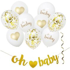 Oh Baby! This stylish and modern balloon and hanging decorating kit features beautiful gold script and hearts, paired with gold ribbon and Confetti. A fun, yet sophisticated decorative addition for your special baby shower. Gold Party Decorations, Gold Ribbons, Baby Shower Parties, Gender Reveal, Confetti, Script, Balloons, Hearts, Place Card Holders