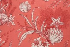 P. Kaufmann By The Sea Tropical Printed Drapery Fabric in Coral $10.95 per yard
