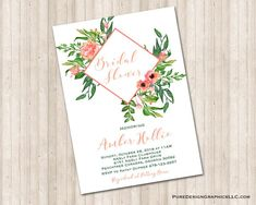 Water Color Floral Bridal Invitation - Luncheon, Brunch, Shower Can use for Baby Shower too! Bridal Invitations, Digital Invitations, Custom Invitations, Pumpkin Leaves, White Envelopes, Floral Watercolor, Color Show, Colorful Backgrounds, Card Stock
