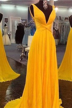 Unique prom dress, chiffon prom dress, cute yellow chiffon long evening dress for prom 2017